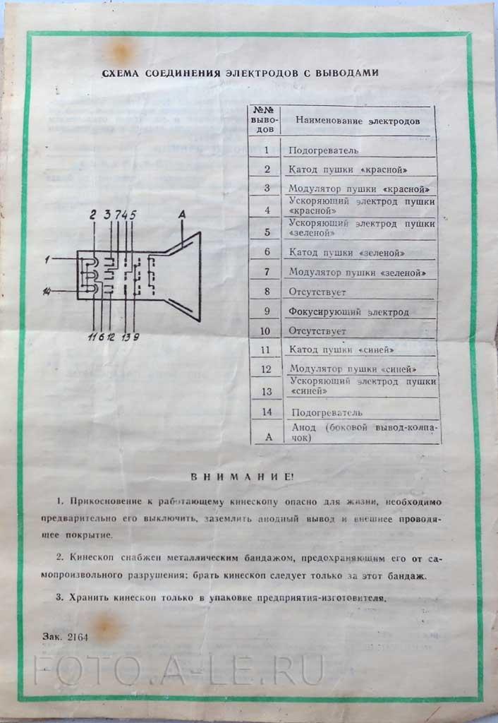 Кинескоп 61ЛК3Ц. Знак качества СССР. Схема соединения электродов с выводами.